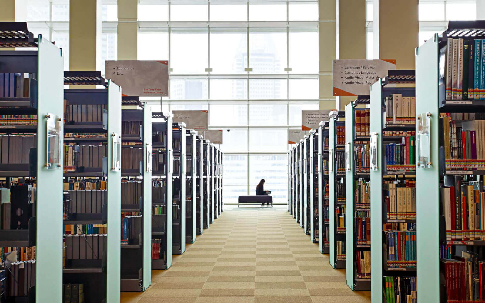 ecological architect glass panel system for library